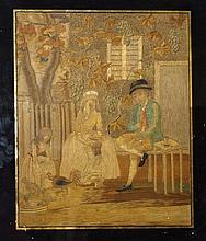 AN 18TH CENTURY SILK NEEDLEWORK PICTURE, Children