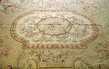 AN AUBUSSON STYLE CARPET OR WALL HANGING, with