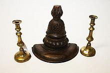 A PAIR OF 19TH CENTURY BRASS CANDLE STICKS, 9.5in
