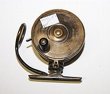 A BRASS MALOCK'S PATENT BRASS FISHING REEL, 3.25in