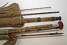 A four piece Bradell & Son spilt cane Rod, in