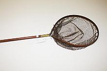 AN OLD BRASS MOUNTED HARDY SALMON NET. 65in