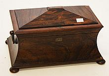 A WILLIAM IV RECTANGULAR ROSE WOOD TEA CADDY, of