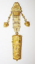 A VERY ATTRACTIVE FRENCH GILT METAL CHATELAINE AND