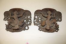 A PAIR OF CARVED BURMESE HARDWOOD WALL BRACKETS,
