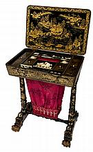A 19TH CENTURY CHINESE BLACK AND GILT LACQUERED