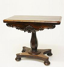 A VICTORIAN FOLD-OVER ROSEWOOD CARD TABLE, with