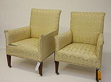 A PAIR OF EDWARDIAN WALNUT ARMCHAIRS, of small
