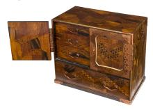 A JAPANESE PARQUETRY INLAID TABLE CUPBOARD,
