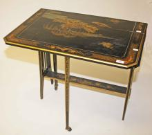 A CHINOISERIE LACQUERED PARCEL GILT YACHT OR SUTHERLAND TABLE,