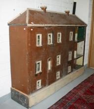 A LARGE SIX BAY PAINTED WOODEN DOLL'S HOUSE,