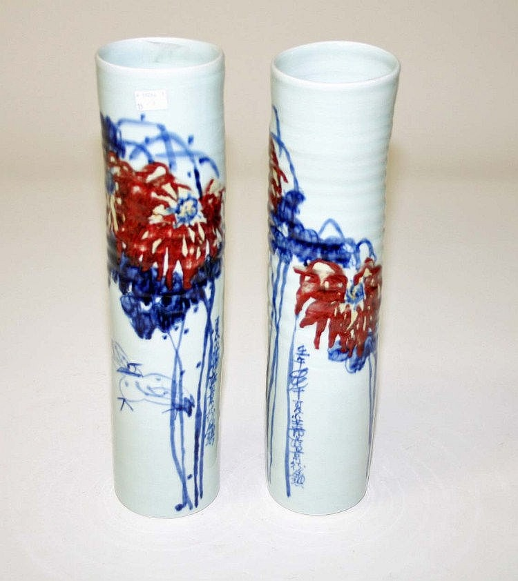 A PAIR OF JAPANESE CELADON GROUND PORCELAIN VASES,