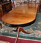 A MAHOGANY REGENCY STYLE TRIPLE PEDESTAL DINING