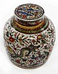 A CHINESE BLUE AND WHITE CLOBBERED GINGER JAR AND