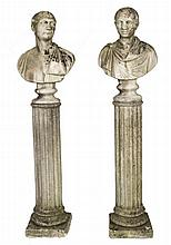 A PAIR OF NICELY WEATHERED COMPOSITION BUSTS,  depicting two Roman emperors