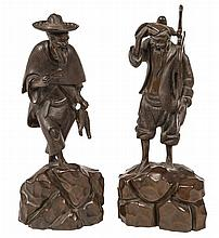 A PAIR OF CARVED CHINESE WOODEN FIGURES, depicting a fisherman and a woodcu