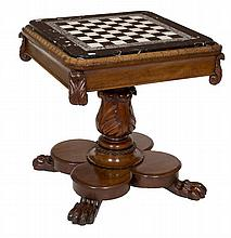 A VERY FINE WILLIAM IV MAHOGANY GAMES TABLE, the square top with lappet mou