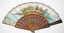 AN ATTRACTIVE OVER PAINTED AND PRINTED FAN,  decorated with colourful figur