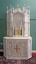 A 19TH CENTURY GOTHIC STYLE PAINTED AND PARCEL GILT CHURCH ALTER, the arche