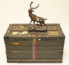 AFTER VALTON,  a bronzed spelter figure depicting a stag at bay; together w