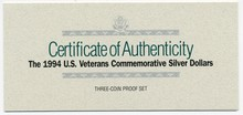 1994 US Veterans Commemorative Three Silver Dollar Set