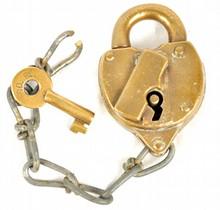 Southern Railway Brass Lock Heart Shaped