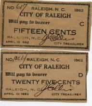 1862 City of Raleigh Notes
