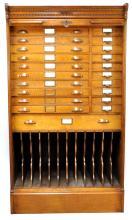 Outstanding Globe Oak Upright Architects File Cabinet