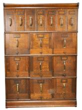 Oak Stacking File Cabinet