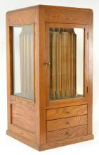 Beldings Revolving Oak Silk and Spool Cabinet