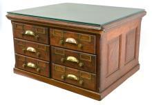 Globe Oak Counter Top Card Index File Cabinet