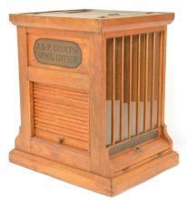 J&P Coats Oak Upright Spool Cabinet