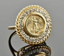 14K Diamond and Coin Ring