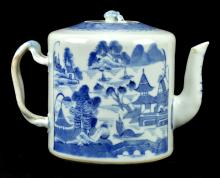 Antique Chinese Blue and White Teapot