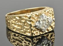 Mens Nugget Diamond Cluster Ring