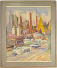 Vilmos Aba-Novak New York Cityscape Signs Oil Painting