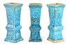 Turquoise-Glazed Temple Alter Vases