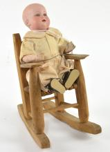 Antique Ernst Heubach Baby Doll in Rocking Chair
