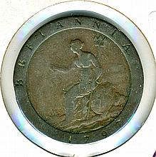 1797, Great Britain, Cartwheel, Penny, One Ounce Copper