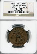 1833 Liberia Large Ship Cent