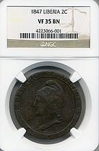 1847 Liberia 2 Cent