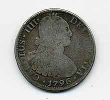 1796 Mexico Silver 8 Reales Mo F. M., Carolus IIII