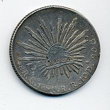 1890 Mexico Silver 8 Reales Go R. R.