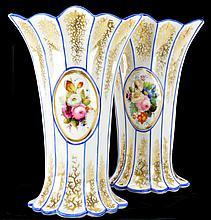Pair Old Paris Rib and Cameo Vases