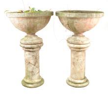 Pair of Garden Pedestal and Urns