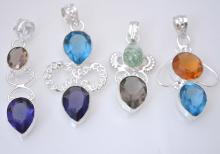 4 Pendants Wholesale Lot Costume Jewelry Fashion With Multi Color Quartz