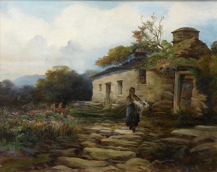 Frederick T Sibley (Exh 1882-1903) A WELSH COTTAGE