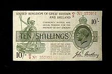 ENGLISH PAPER MONEY.  TREASURY, ONE POUND  Bradbury F, G and Fisher K,