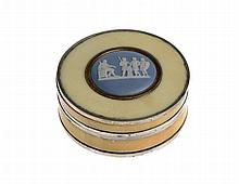 A SILVER MOUNTED IVORY SNUFF BOX, C1800  the cover inset with a Wedgwo