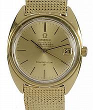AN OMEGA 18CT GOLD SELF WINDING GENTLEMAN'S WRISTWATCH CONSTELLATION R